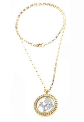 www.snowfall-beads.be - Metalen (roestvrij staal) hanger/bedel medaillon 'Floating Charm Locket' met glazen kastje (± 18x3mm) en strass ± 31x25x5mm (oogje ± 9x5mm)