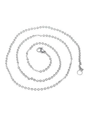 www.snowfall-beads.be - Roestvrijstalen halsketting 50cm (± 2mm dik)
