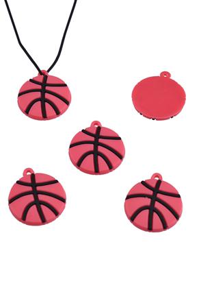 www.snowfall-beads.be - Silicone hangers/bedels basketbal voor Loom armbanden ± 24x21mm (oogje ± 1,5mm)