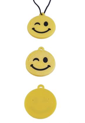 www.snowfall-beads.be - Silicone hangers/bedels smiley voor Loom armbanden ± 29x25mm (oogje ± 1,5mm)