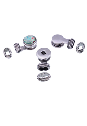 www.snowfall-beads.com - Metal clasps with DoubleBeads EasyButton setting ± 31x19mm (hole ± 12x6,5mm) and slide-beads ± 10x17mm (suitable for DoubleBeads EasyButton ± 18mm press studs)