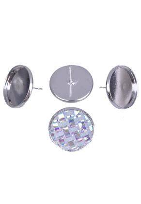 www.snowfall-beads.nl - Metalen oorstekers met kastje voor ± 18mm plaksteen ± 20x14mm
