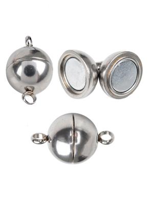 www.snowfall-beads.be - Metalen (roestvrij staal) magnetische sluiting ± 20x12mm (oogjes ± 2,5mm) (waarschuwing: niet voor mensen met een pacemaker)