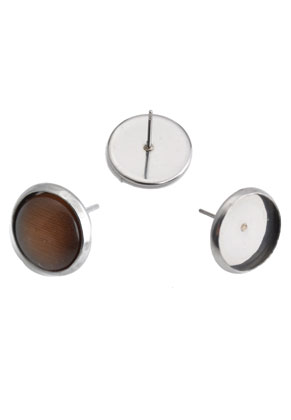 www.snowfall-beads.com - Metal (stainless steel) ear studs for 12mm flat back 14x13mm