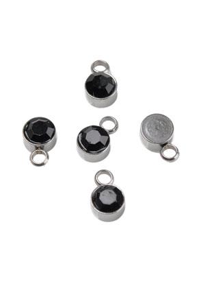 www.snowfall-beads.be - Metalen (roestvrij staal) hangers/bedels met strass 8x5mm
