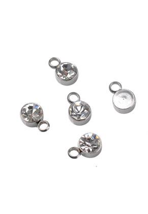 www.snowfall-beads.fr - Pendentifs/breloques en métal (acier inoxydable) avec strass 8x5mm