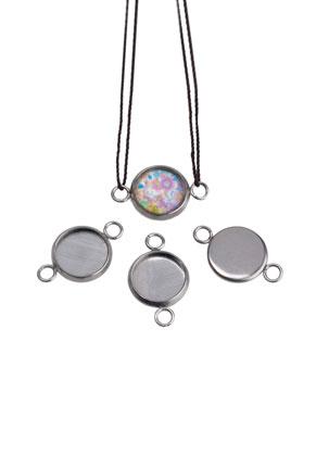 www.snowfall-beads.fr - Pendentifs/entre-deux en métal (acier inoxydable) pour cabochon 20x12mm