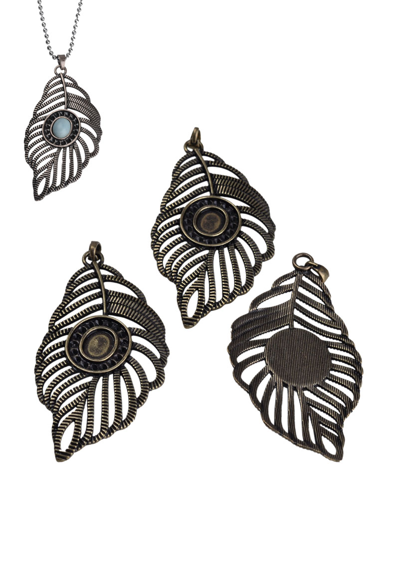 metal pendants charms feather 75x36mm