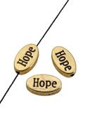 www.snowfall-beads.de - Metallperlen Oval mit Text Hope 14x8mm - D19051
