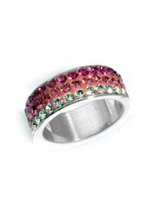 www.snowfall-beads.com - Stainless steel fingerring with strass Ø17mm