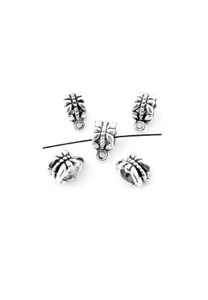 www.snowfall-beads.de - Großloch-Still Metall Perlen bearbeitet mit Äugelchen12x6mm