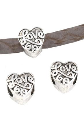 www.snowfall-beads.nl - Groot-gat-style metalen kralen hartje bewerkt 10mm
