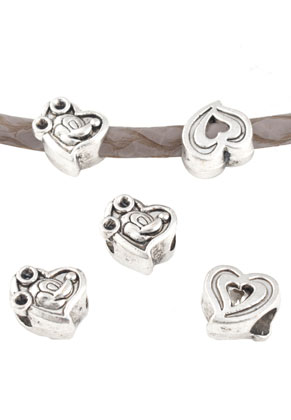 www.snowfall-beads.com - Big-hole-style metal beads heart decorated 11x10mm