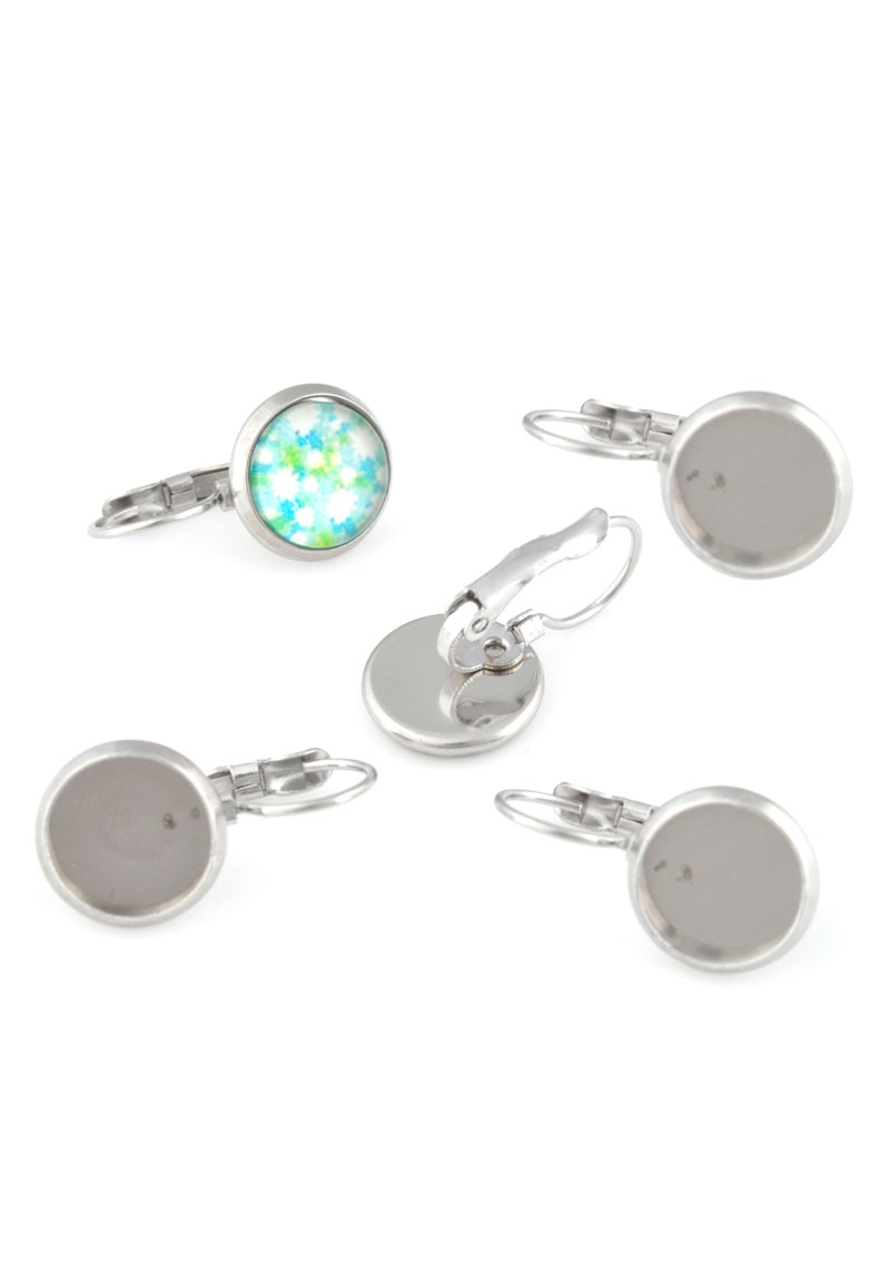 metal stainless steel snap earrings 17x8mm for flat back
