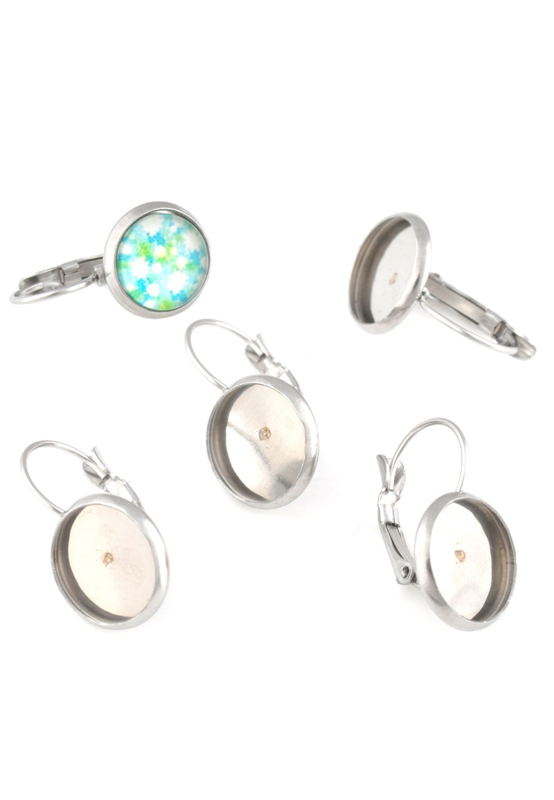metal stainless steel snap earrings 21x12mm for flat back