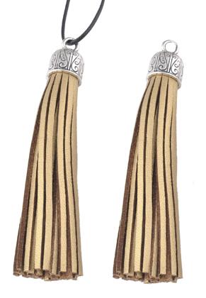 www.snowfall-beads.com - Imitation leather tassels with metal cap 90x13mm