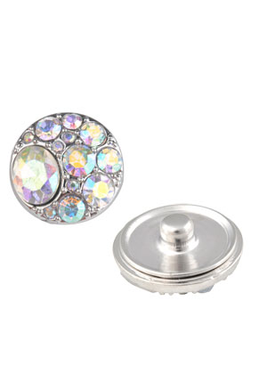 www.snowfall-beads.com - Metal press studs DoubleBeads EasyButton with strass ± 20mm
