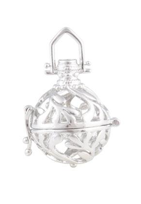 www.snowfall-beads.nl - Metalen hanger engelenroeper/Prayer Box 36x25mm