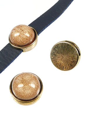 www.snowfall-beads.com - Metal slide-beads flat round with synthetic flat back 17mm