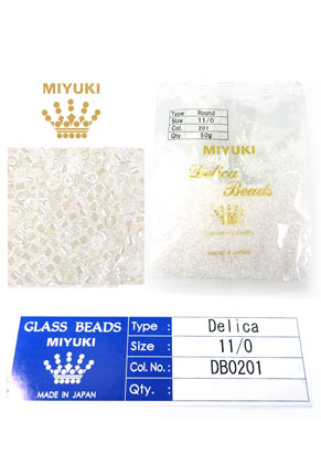 www.snowfall-beads.com - Miyuki Delica Beads glass seed beads 11/0 1,6x1,3mm DB0201 (10000 pcs.)