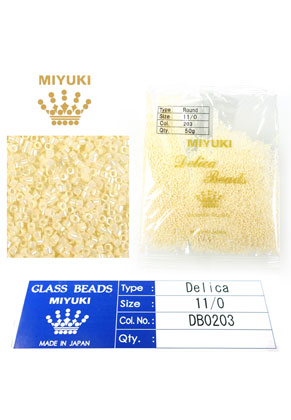 www.snowfall-beads.com - Miyuki Delica Beads glass seed beads 11/0 1,6x1,3mm DB0203 (10000 pcs.)