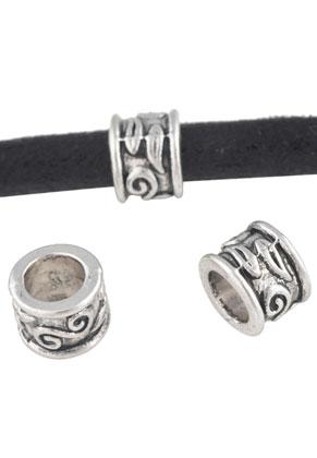 www.snowfall-beads.nl - Groot-gat-style metalen kralen rondel 9x7mm