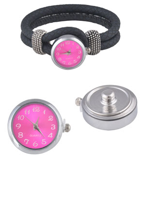 www.snowfall-beads.com - DoubleBeads EasyButton press studs size L with clock