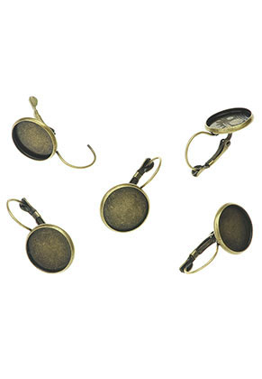 www.snowfall-beads.com - Metal snap earrings 29x16mm for 14mm flat back