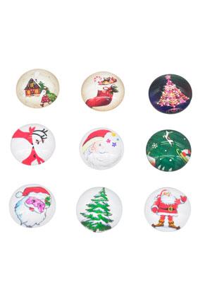 www.snowfall-beads.nl - Mix glas plakstenen/cabochon rond kerst 16mm