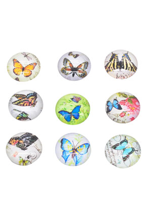 www.snowfall-beads.de - Mix Glas Klebsteine/Cabochons rund mit Schmetterling 16mm