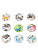 www.snowfall-beads.de - Mix Glas Klebsteine/Cabochons rund mit Schmetterling 16mm - D20786