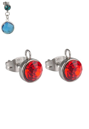 www.snowfall-beads.com - Stainless steel ear studs with eye and strass 15x10mm