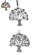 www.snowfall-beads.fr - Pendentifs en métal arbre 45x42mm avec cadres pour 2mm et 3mm imitations de diamant - D20940