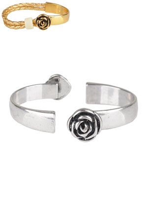 www.snowfall-beads.co.uk - Metal half open cuff bracelet clasps rose 59x16mm