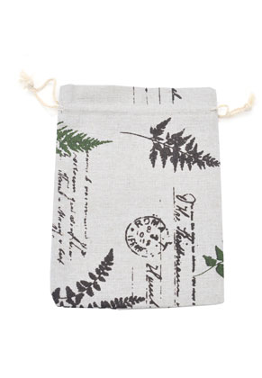 www.snowfall-beads.com - Textile gift bags with leaves 14x10cm