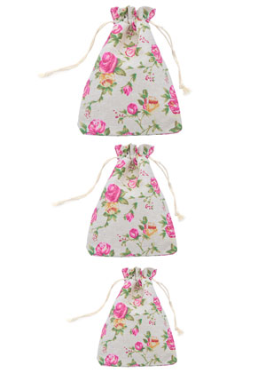 www.snowfall-beads.com - Mix textile gift bags with roses 14-20cm