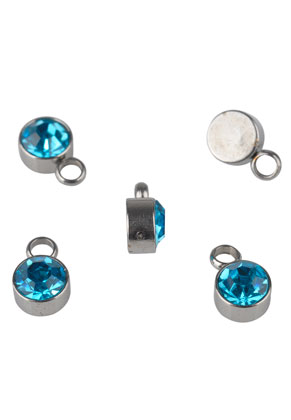 www.snowfall-beads.com - Stainless steel pendants/charms with strass 8x5mm