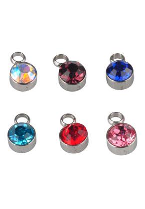 www.snowfall-beads.be - Mix roestvrijstalen hangers/bedels met strass 8x5mm