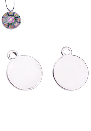 www.snowfall-beads.com - Metal name tag/label pendants/charms round 15x12mm for 12mm flat back