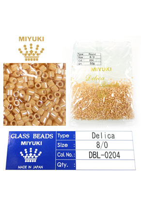 www.snowfall-beads.com - Miyuki Delica Beads glass seed beads 8/0 3x2,7mm DBL-0204 (1500 pcs.)