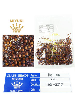 www.snowfall-beads.com - Miyuki Delica Beads glass seed beads 8/0 3x2,7mm DBL-0312 (1500 pcs.)