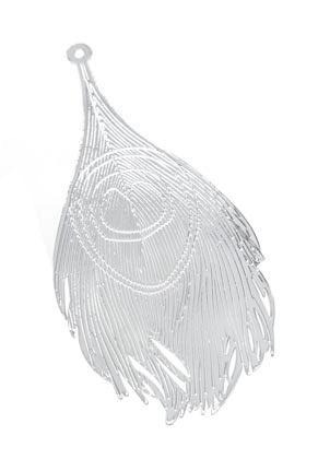 www.snowfall-beads.fr - Marque-pages/pendentifs en métal plume de paon 83x38mm