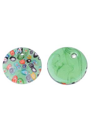 www.snowfall-perles.be - Pendentif en verre circulaire Italian Style 45mm