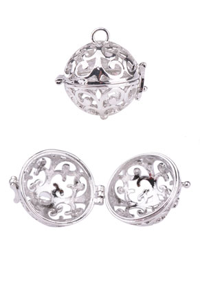 www.snowfall-beads.fr - Pendentif en métal appel aux anges/Prayer Box circulaire 26x21mm