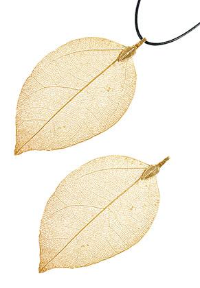 www.snowfall-beads.com - Metal pendant leaf 65-95mm