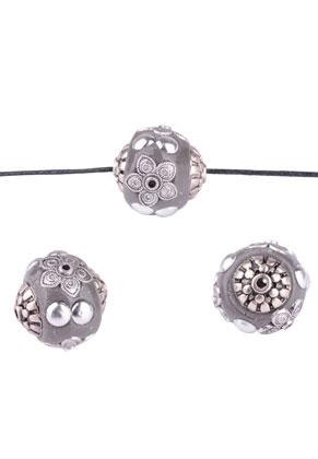 www.snowfall-beads.de - Metall Kashmiri Perlen mit Polymerton rund 19mm