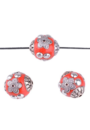 www.snowfall-beads.nl - Metalen Kashmiri kralen met polymeerklei rond 19mm