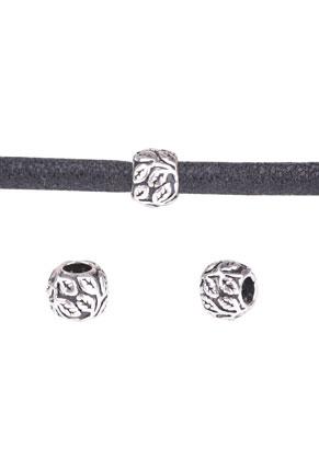 www.snowfall-beads.de - 925 Silber Perle Rondelle mit Blätter 10x8mm