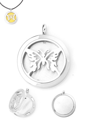 www.snowfall-beads.com - Stainless steel DoubleBeads EasySwitch pendant/perfume locket DQ 37x30mm for 21mm felt disc