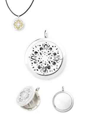 www.snowfall-beads.fr - Pendentif DoubleBeads EasySwitch/médaillon de parfum en acier inoxydable DQ 37x30mm pour 21mm disque en feutrage